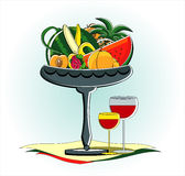 Fruits in vase with glass of red wine Stock Photo