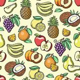 Fruits vector fruity apple banana and exotic papaya handmade sketch old retro vintage graphic style illustration. Fresh Stock Photo