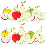 Fruits vector illustration: apples and pears. Isolated on white background vector illustration