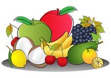 Fruits. Vector illustration of fruits - heart shaped arrangement vector illustration