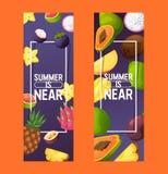 Fruits vector pattern fruity apple banana and exotic papaya background fresh slices of tropical dragonfruit juicy orange. Illustration fruitful backdrop set stock illustration