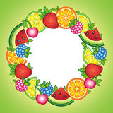 Fruits vector round frame. Vector elements. Watermelon, cherry, raspberry, blueberry, strawberry, orange, lemon, and lime Stock Photo