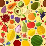 Fruits vector seamless pattern. Flat  design fresh  tropical fruits vector seamless pattern tile background texture Royalty Free Stock Photo