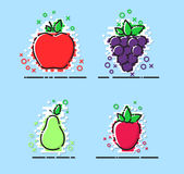 Fruits vector set with MBE styled, flat icons, vector. Fruits vector set with MBE styled, flat icons royalty free illustration