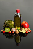 Fruits Vegatables and Olive Oil Royalty Free Stock Photos