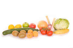 Fruits and Vegetable. Studio shot of a variety of fruits and vegetable. Isolated. White background Stock Photography