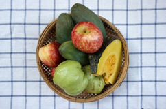 Fruits and vegetable in a basket Royalty Free Stock Images