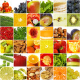 Fruits vegetable collage Stock Images