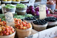 Fruits and vegetable at a market Stock Photos