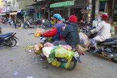 Fruits And vegetable Overloaded Motorcycle Dalat city Royalty Free Stock Photography