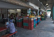 Fruits and vegetable stalls at the local market in Progreso, Yucatan, Mexico.  stock photos
