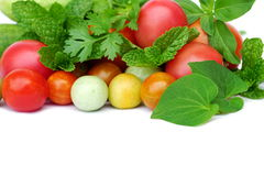 Fruits and vegetable on a white background. Royalty Free Stock Photography