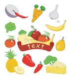 Fruits and vegetables. Fruit and vegetables, vector illustration Royalty Free Stock Photo