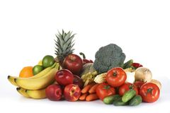 Fruits and vegetables. On white background Royalty Free Stock Photos