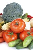 Fruits and vegetables. On white background Royalty Free Stock Photography