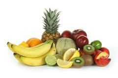 Fruits and vegetables. On white background Stock Photo
