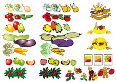 Fruits and vegetables. On white background Royalty Free Stock Photo