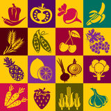 Fruits and vegetables. Seamless  background with colorful symbols of fruits and vegetables. Alternation of light and dark cells Royalty Free Stock Photos