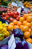 Fruits and vegetables. Stand in a market Royalty Free Stock Images