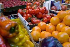 Fruits and vegetables. Stand in a market Royalty Free Stock Photo