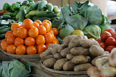 Fruits and Vegetables. Fruit and vegetable display at a local farmers market Royalty Free Stock Image