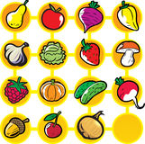 Fruits and vegetables. On a yellow and white background.Additionally, a vector EPS format Stock Images