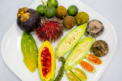 Fruits and Vegetables. On a plate Stock Photography