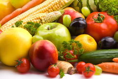 Fruits and vegetables. Group of different fruit and vegetables Stock Images