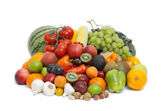 Fruits and vegetables. Isolated on white background Royalty Free Stock Photography