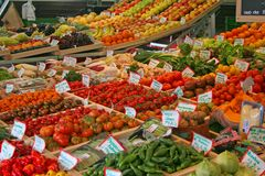 Fruits and Vegetables. Fresh fruits and vegetables sold at the farmer's market stock photos