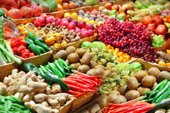Fruits and vegetables. At a farmer's market Stock Images
