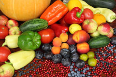 Fruits and vegetables. Ripe vegetables and fruits. Organic produce. Tomatoes,  plums, pepper, cowberries, zucchini, apples and other food Stock Photos