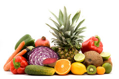 Fruits and vegetables. Fruit and vegetables on a pile studio isolated Stock Photo