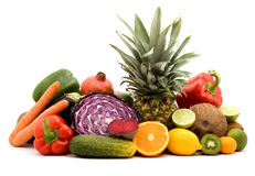 Fruits and vegetables. Fruit and vegetables on a pile studio isolated Stock Photography