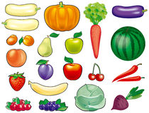 Fruits and vegetables set Royalty Free Stock Photos