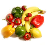 Fruits and vegetables. Still life of different fruits and vegetables of strong colors Stock Photos