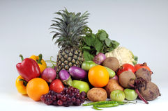 Fruits and vegetables. Fresh fruits and vegetables - group shot Stock Photo