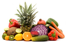 Fruits and vegetables. Fruit and vegetables on a pile studio isolated Stock Images
