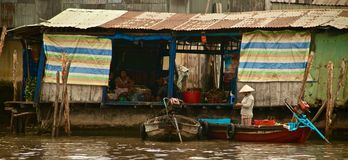 Fruits and vegetables along the Mekong river in Vietnam, Southeast Asia stock image