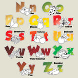 Fruits and vegetables alphabet from N to Z Stock Photography
