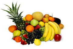 Fruits and vegetables apples isolated white pineapple,Strawberry Grapes potatoes carrots peppers Stock Photo