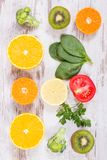 Fruits and vegetables as sources vitamin C, dietary fiber and minerals, strengthening immunity concept. Fruits and vegetables as sources of minerals containing stock photography
