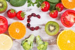 Fruits and vegetables as sources vitamin C, fiber and minerals, strengthening immunity and healthy eating concept Stock Photos