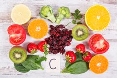 Fruits and vegetables as sources vitamin C, fiber and minerals, strengthening immunity and healthy eating concept Royalty Free Stock Photography