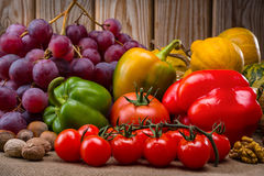 Fruits and vegetables in autumn vintage still life Royalty Free Stock Photos