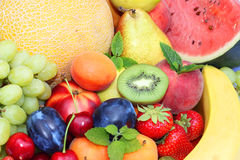 Fruits and vegetables background Stock Photos