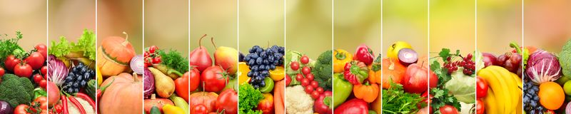 Fruits and vegetables on background of multicolored natural blur. Red background. Free space for text Stock Photos