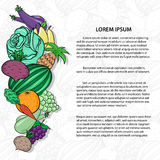 Fruits and vegetables background template for text Royalty Free Stock Photo