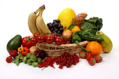 Fruits and vegetables in a basket Royalty Free Stock Image