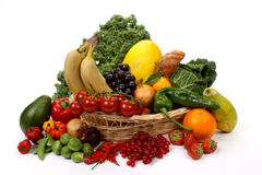 Fruits and vegetables in a basket Royalty Free Stock Photography